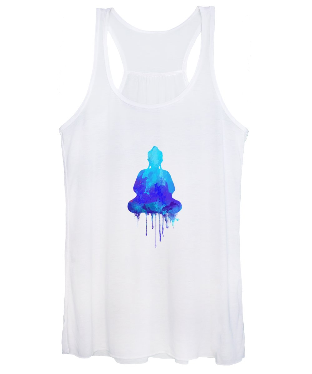Watercolor Women's Tank Top featuring the painting Blue Buddha Watercolor Painting by Thubakabra