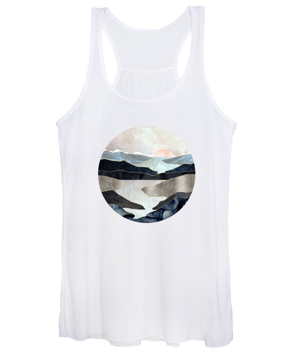 Blue Women's Tank Top featuring the digital art Blue Mountain Lake by Spacefrog Designs