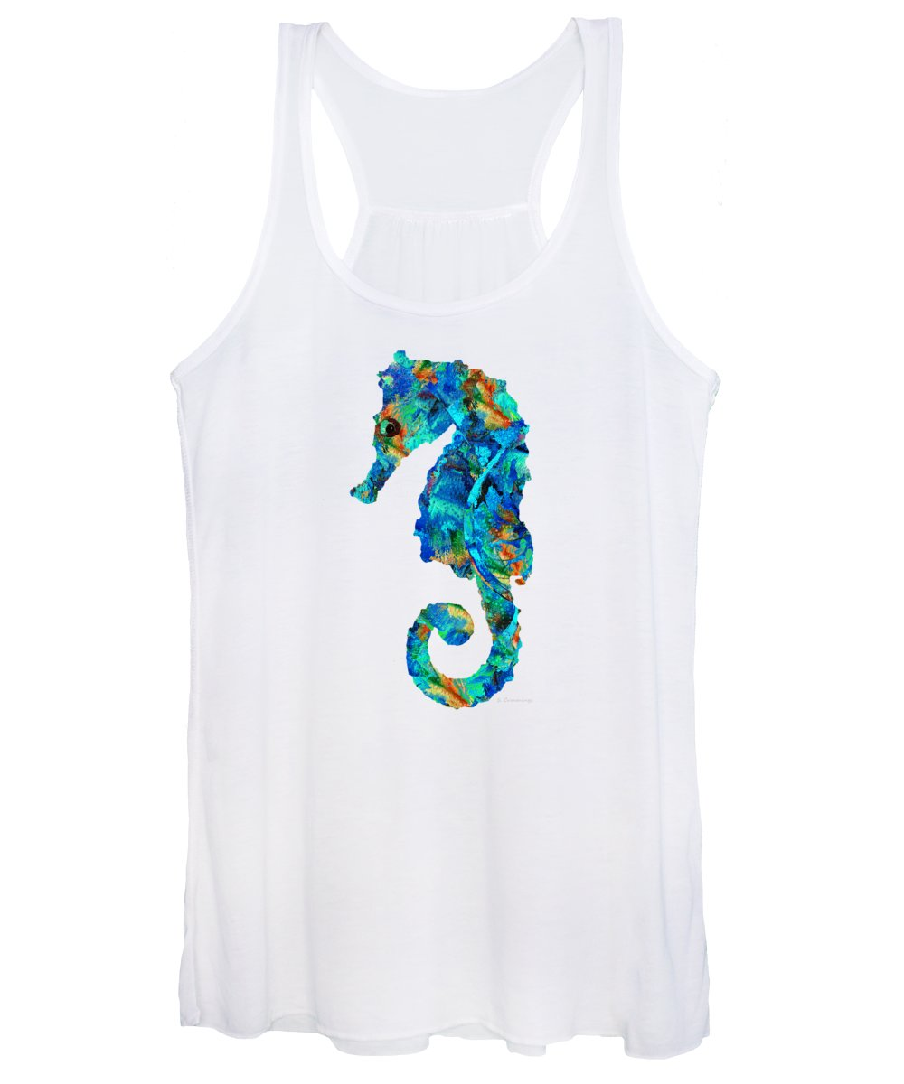 Seahorse Women's Tank Top featuring the painting Blue Seahorse Art By Sharon Cummings by Sharon Cummings
