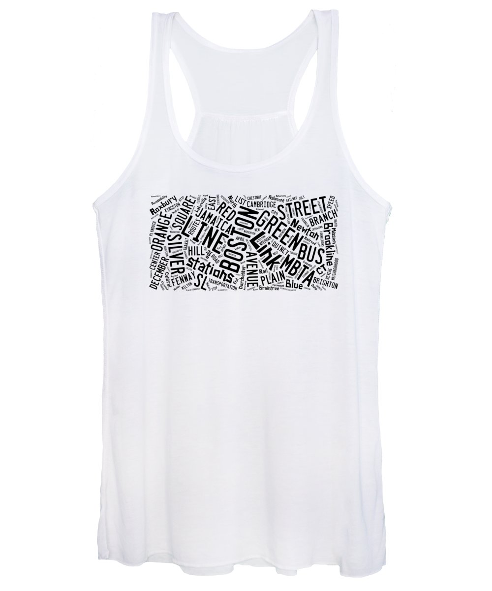 Boston Women's Tank Top featuring the digital art Boston Subway Or T Stops Word Cloud by Edward Fielding