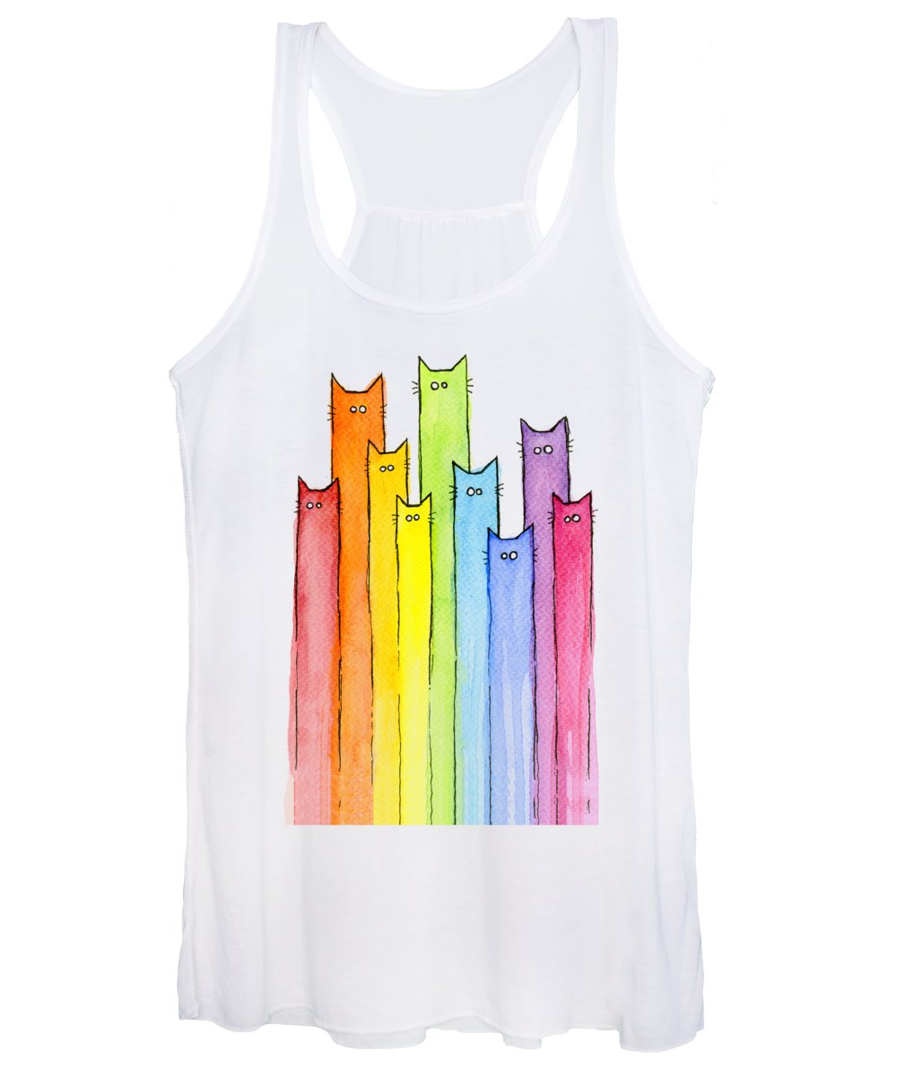 Cats Women's Tank Top featuring the painting Cat Rainbow Watercolor Pattern by Olga Shvartsur