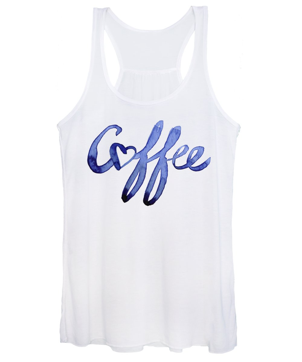 Coffee Women's Tank Top featuring the painting Coffee Love Typography by Olga Shvartsur