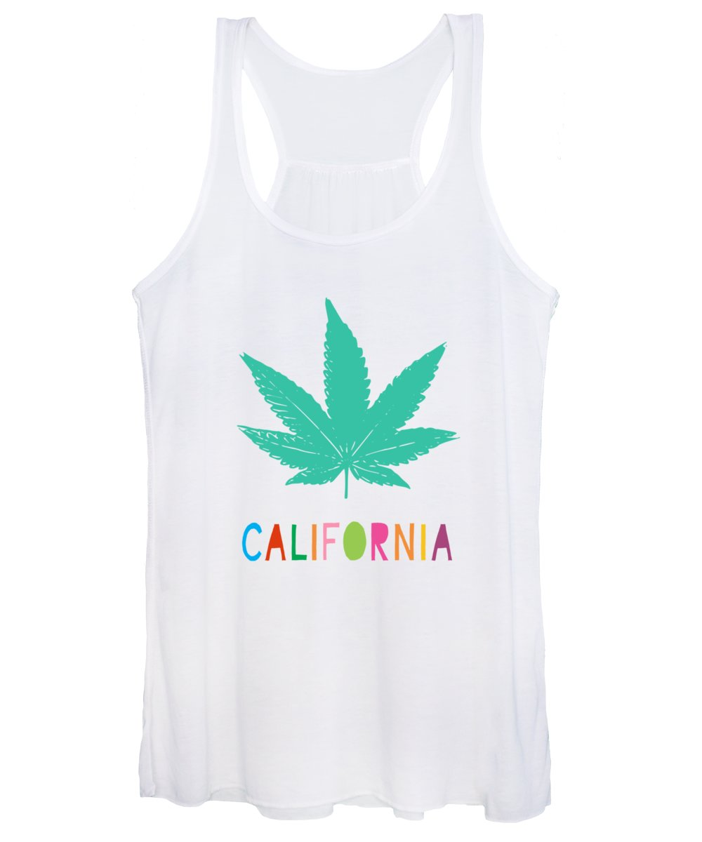 California Women's Tank Top featuring the mixed media Colorful California Cannabis- Art By Linda Woods by Linda Woods