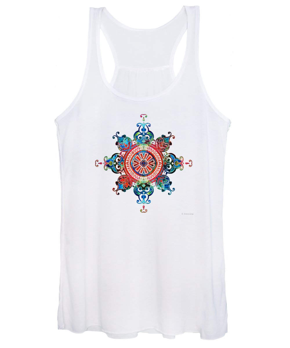 Mandala Women's Tank Top featuring the painting Colorful Pattern Art - Color Fusion Design 3 By Sharon Cummings by Sharon Cummings