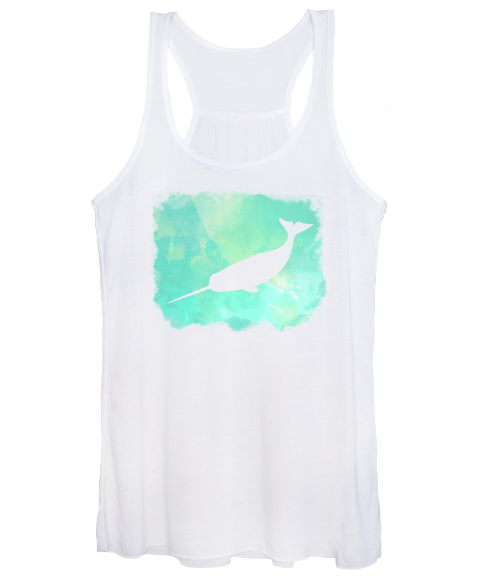 Narwhal Women's Tank Top featuring the painting Colorful Watercolor Narwhal Sea Life Coastal Art by Tina Lavoie