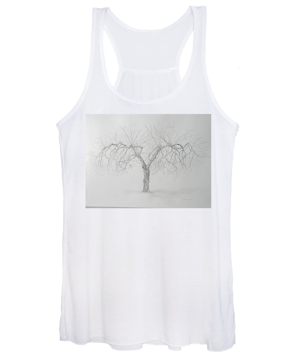 Cortland Apple Tree Women's Tank Top featuring the drawing Cortland Apple by Leah Tomaino