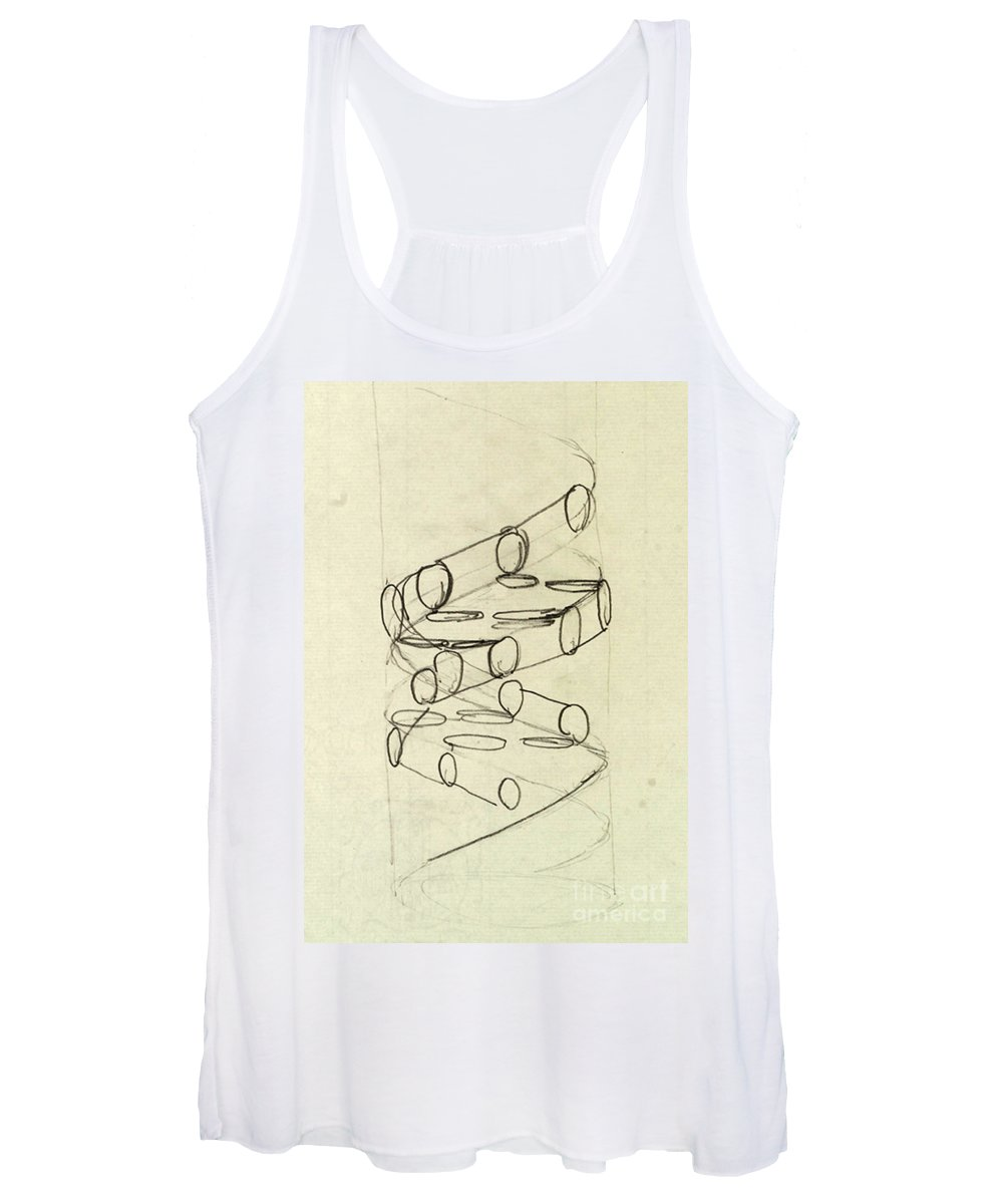 Dna Women's Tank Top featuring the photograph Cricks Original Dna Sketch by Science Source