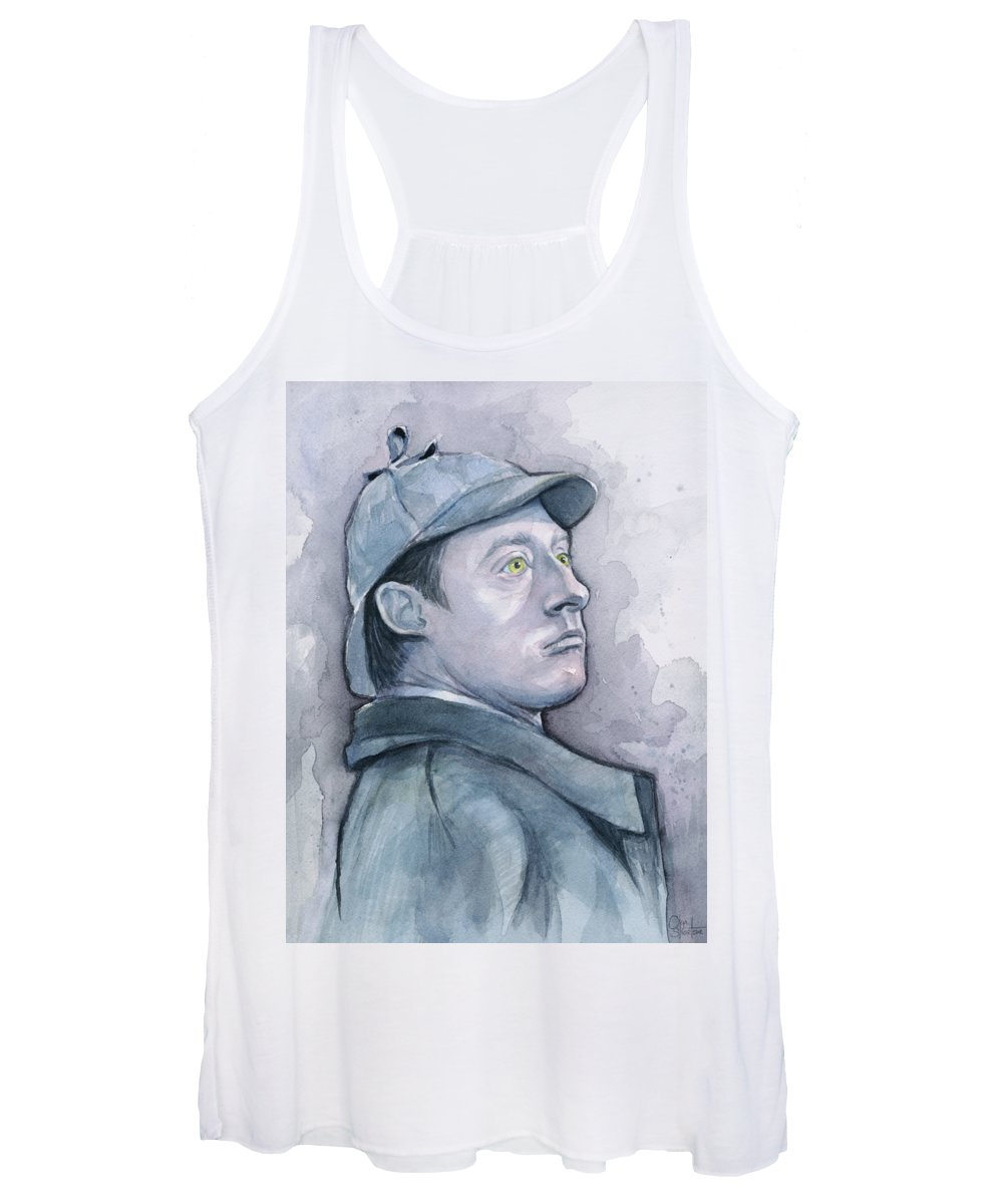 Data Women's Tank Top featuring the painting Data As Sherlock Holmes by Olga Shvartsur