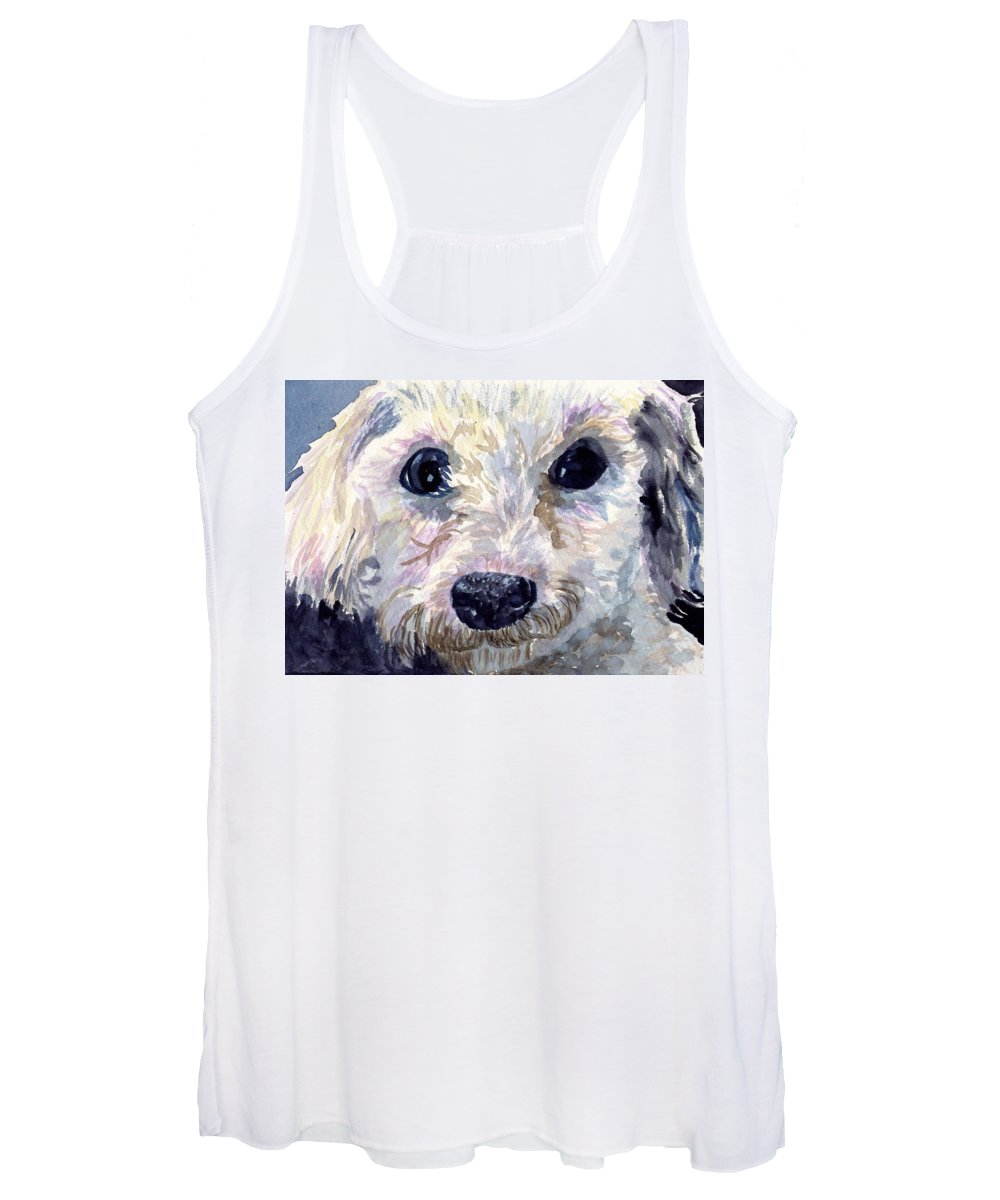 Bichon Frise Women's Tank Top featuring the painting Did You Say Lunch by Sharon E Allen