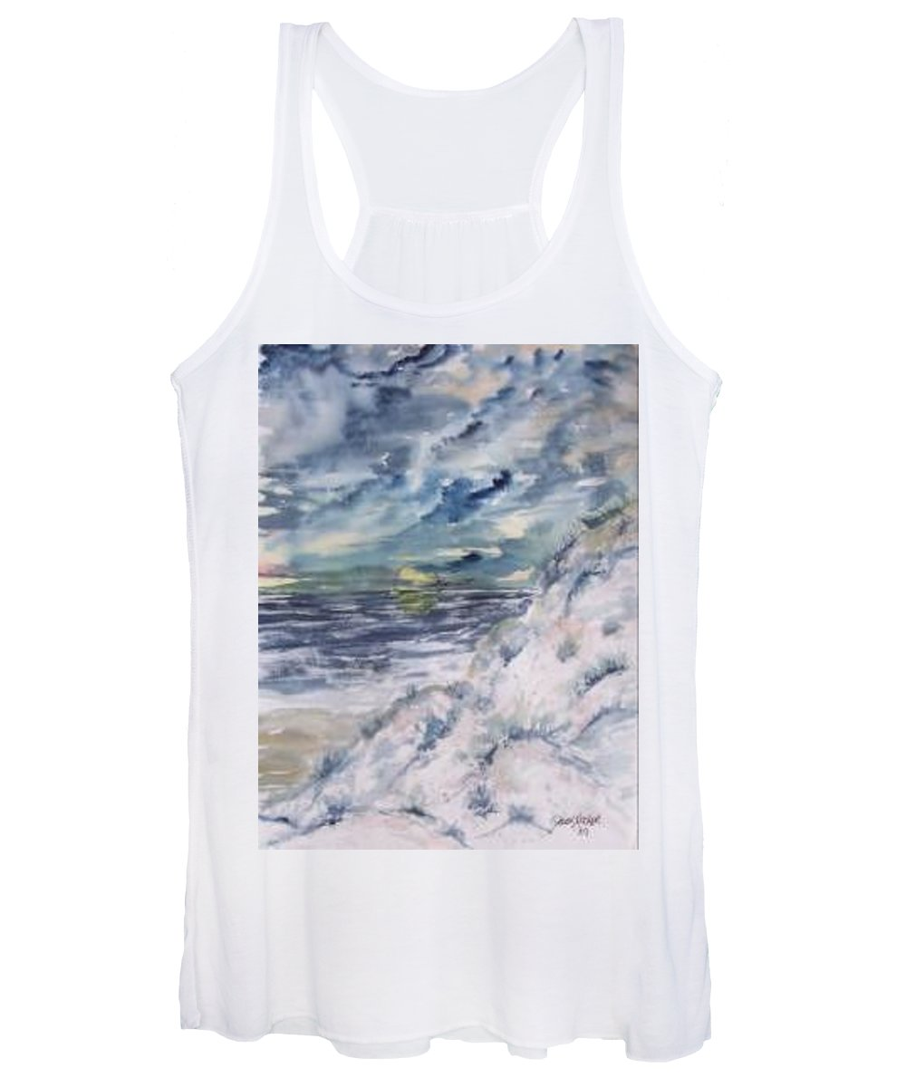 Seascape Women's Tank Top featuring the painting Dunes 2 seascape painting poster print by Derek Mccrea