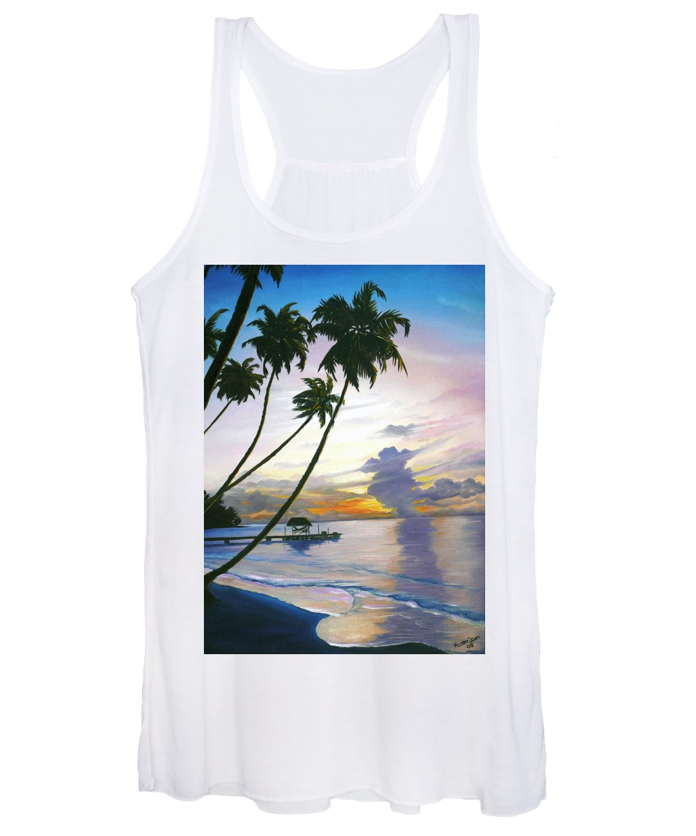 Ocean Painting Seascape Painting Beach Painting Sunset Painting Tropical Painting Tropical Painting Palm Tree Painting Tobago Painting Caribbean Painting Original Oil Of The Sun Setting Over Pigeon Point Tobago Women's Tank Top featuring the painting Eventide Tobago by Karin Dawn Kelshall- Best
