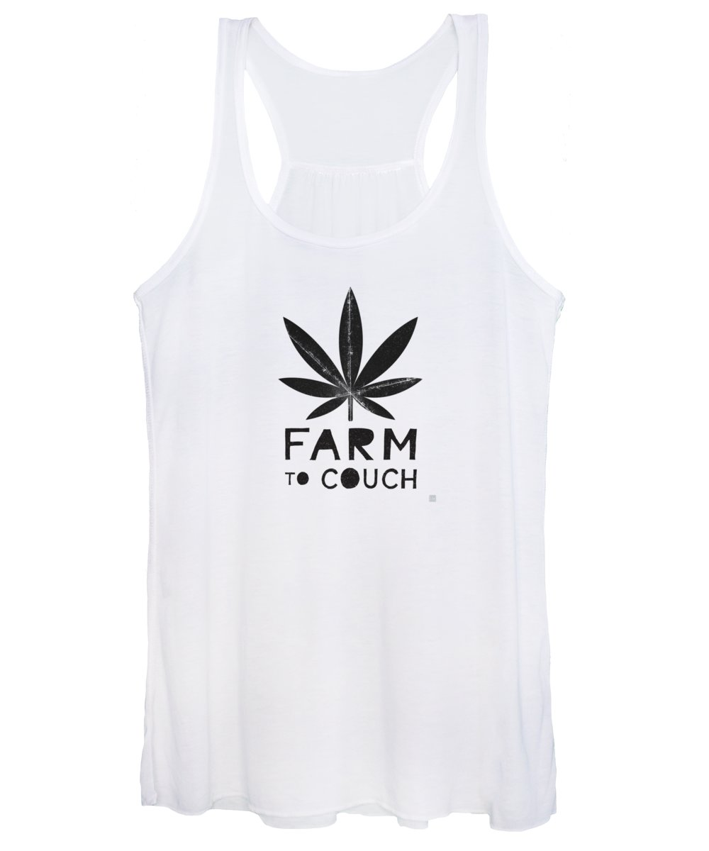 Cannabis Women's Tank Top featuring the mixed media Farm To Couch Black And White- Cannabis Art by Linda Woods by Linda Woods