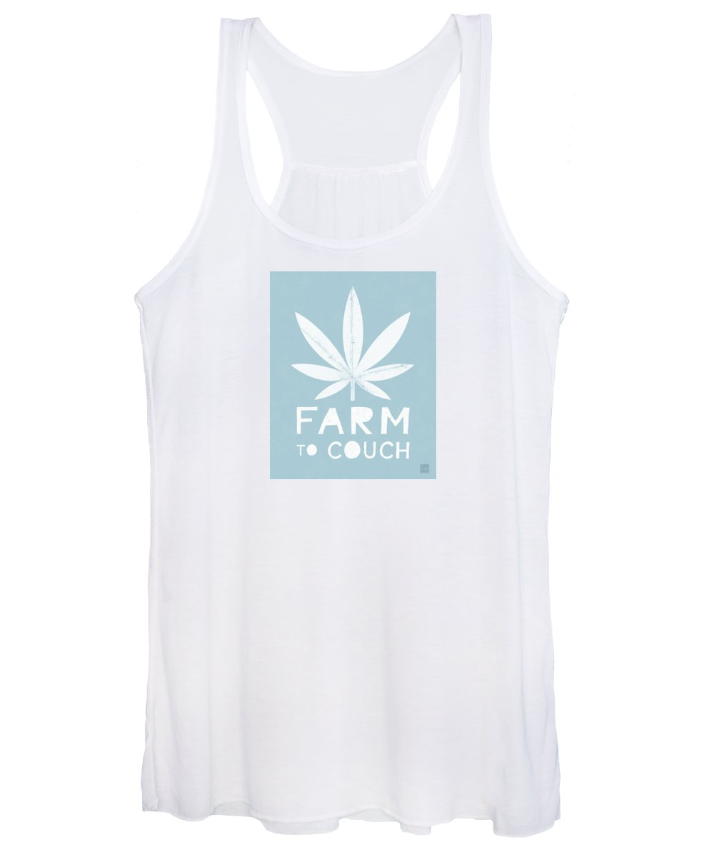 Cannabis Women's Tank Top featuring the mixed media Farm To Couch Blue- Cannabis Art by Linda Woods by Linda Woods