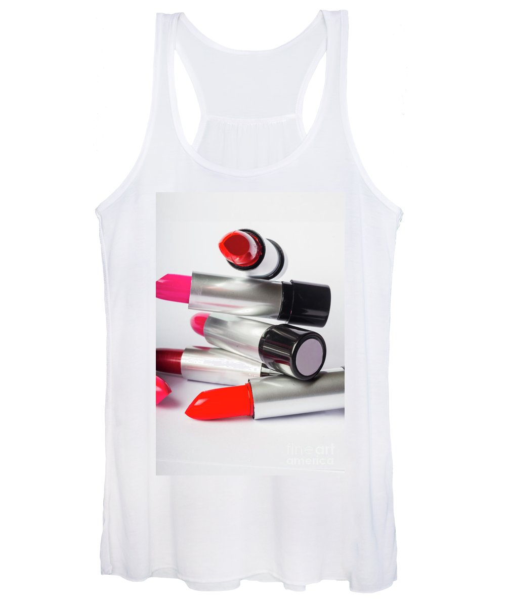 Make-up Women's Tank Top featuring the photograph Fashion Model Lipstick by Jorgo Photography - Wall Art Gallery
