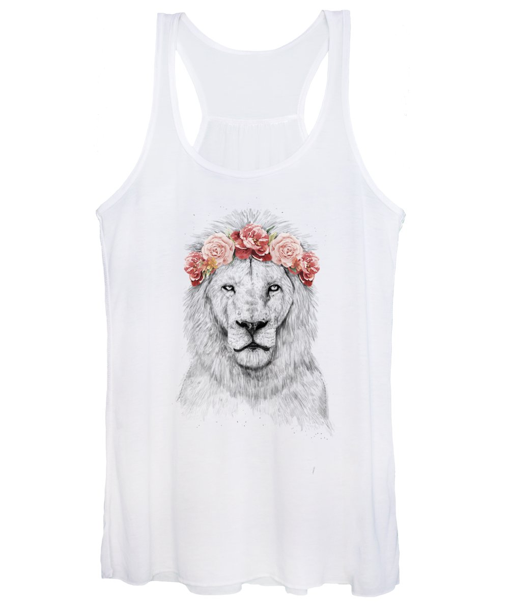 Lion Women's Tank Top featuring the drawing Festival lion by Balazs Solti