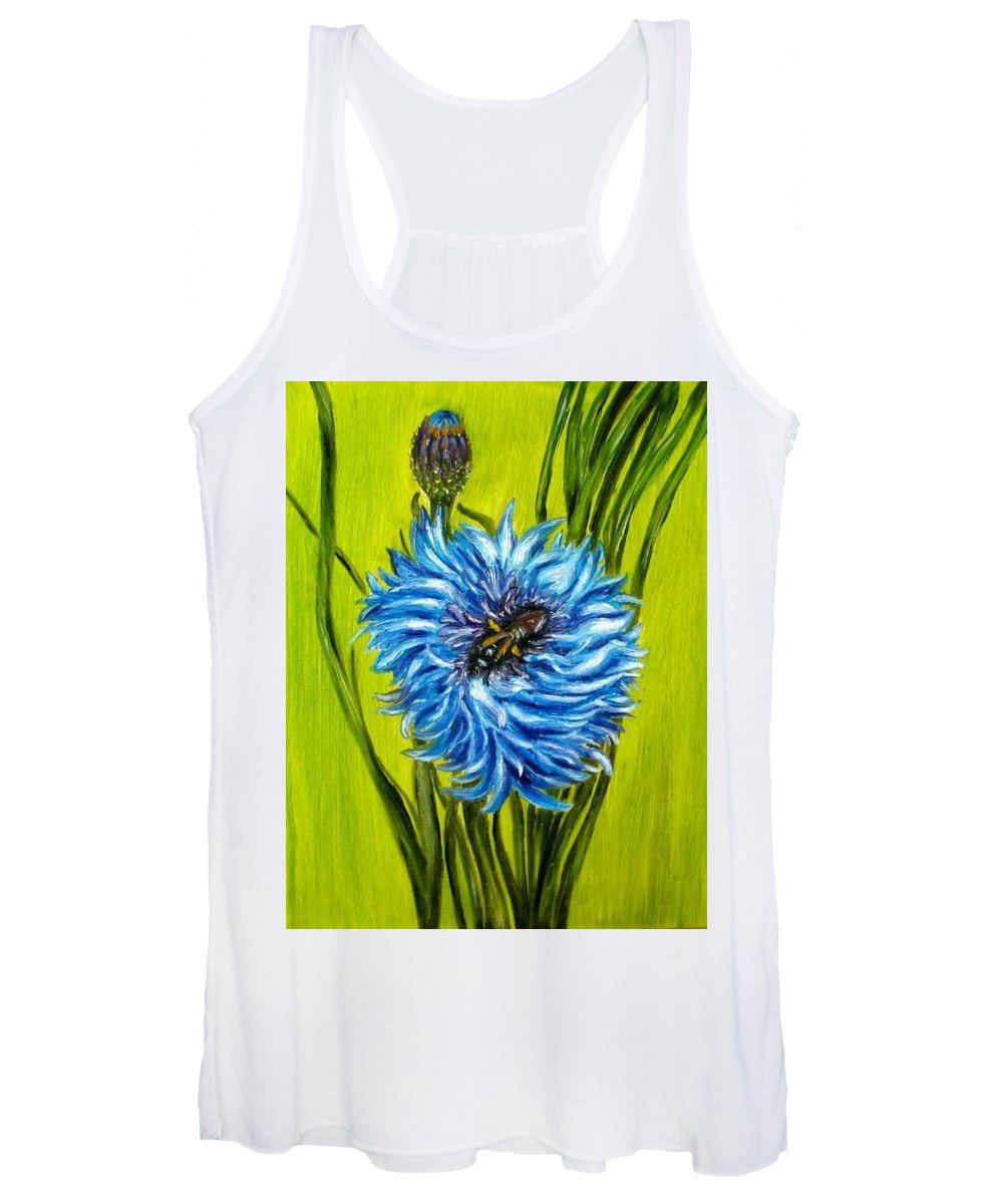 Floral Women's Tank Top featuring the painting Flower and Bee oil painting by Natalja Picugina