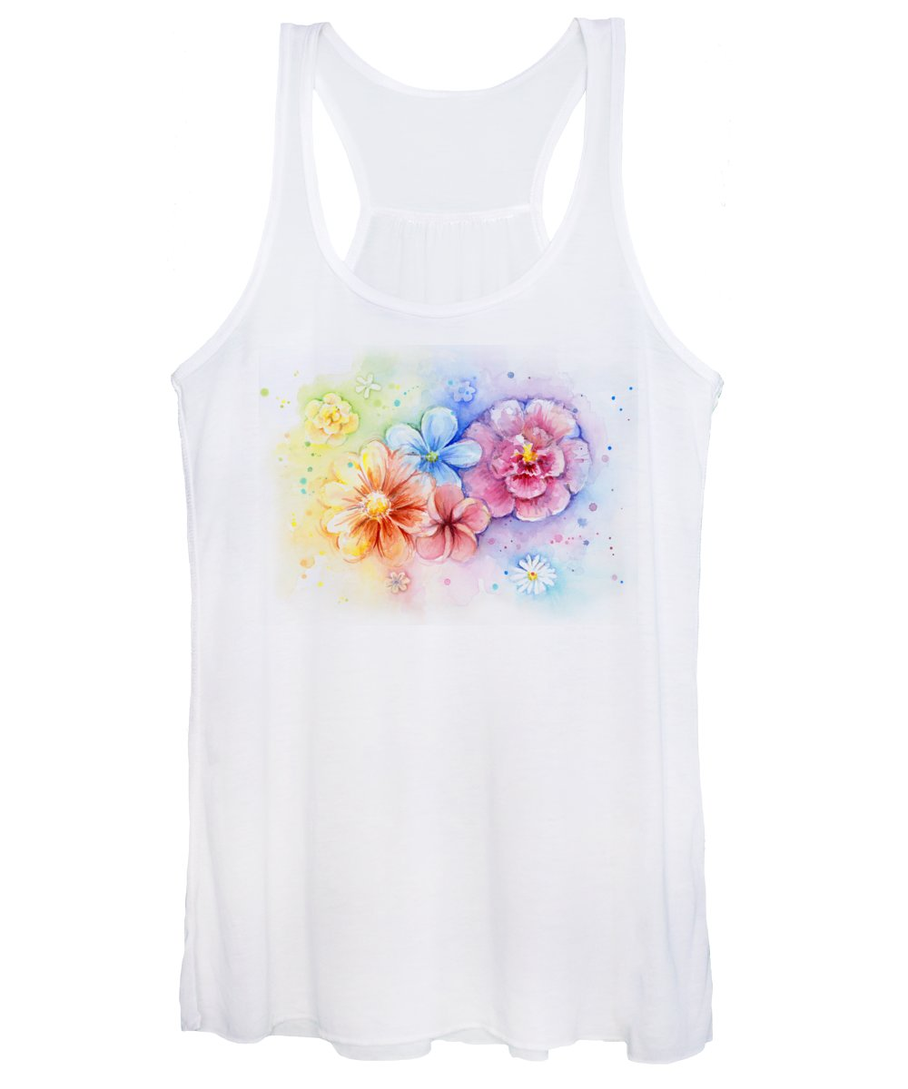 Flower Women's Tank Top featuring the painting Flower Power Watercolor by Olga Shvartsur