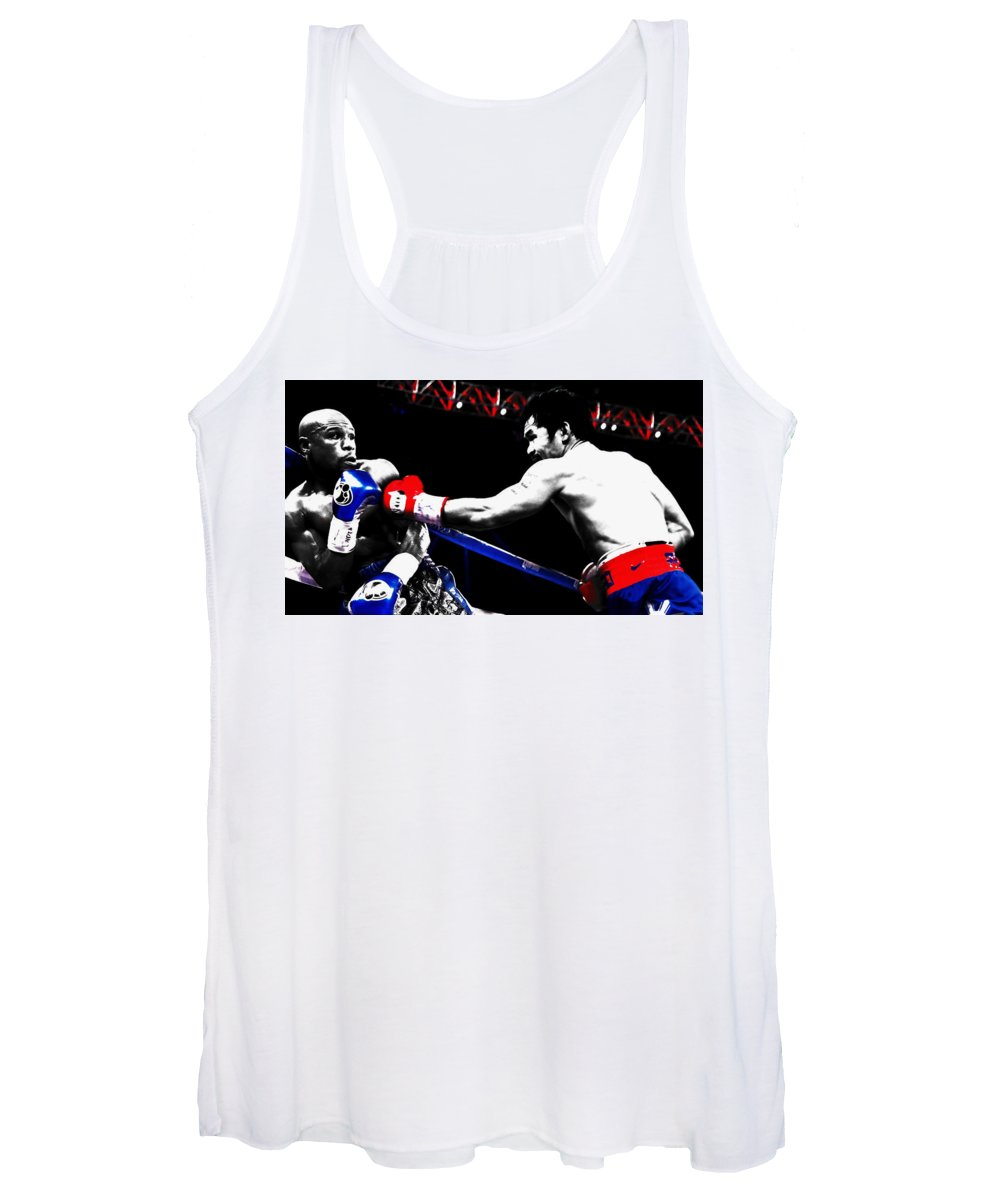 Manny Pacquiao Women's Tank Top featuring the mixed media Floyd Mayweather And Manny Pacquiao by Brian Reaves