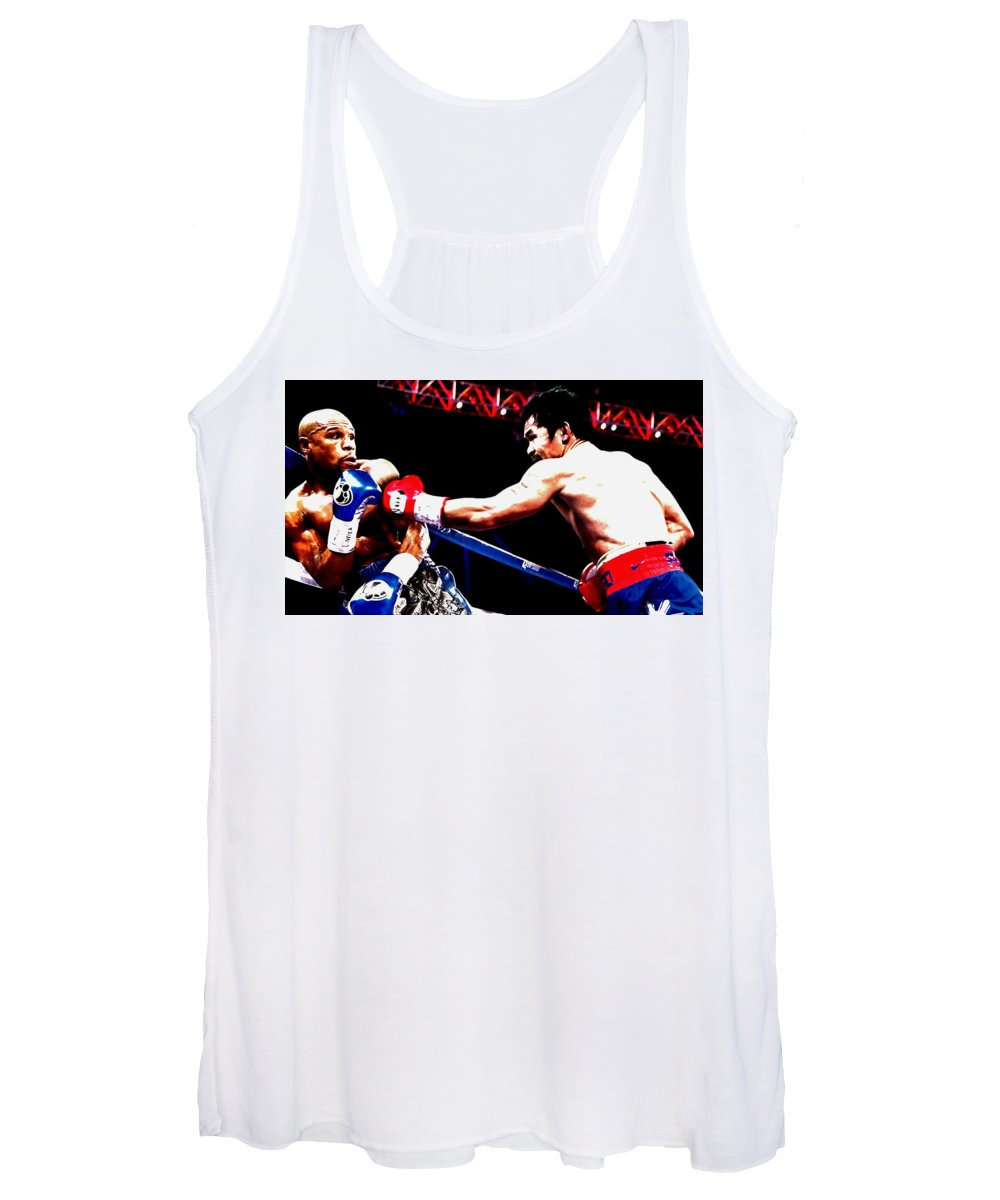 Manny Pacquiao Women's Tank Top featuring the mixed media Floyd Mayweather And Manny Pacquiao Going At It by Brian Reaves