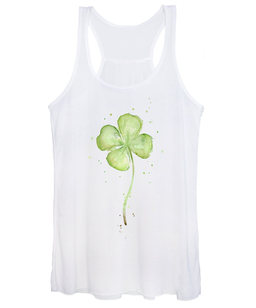 St Patricks Women's Tank Top featuring the painting Four Leaf Clover Lucky Charm by Olga Shvartsur