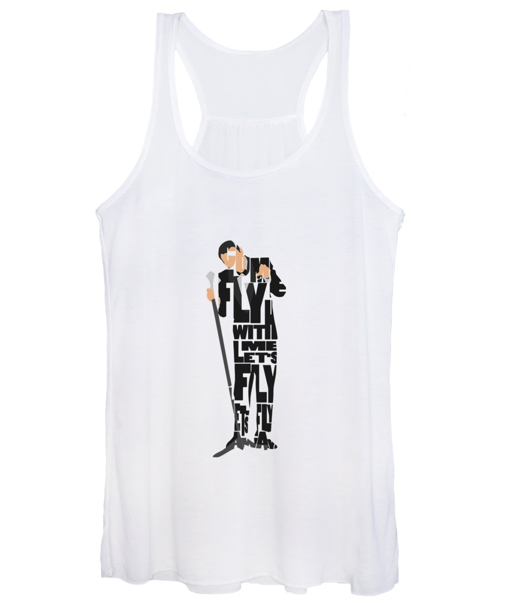 Frank Women's Tank Top featuring the painting Frank Sinatra Typography Art by Inspirowl Design