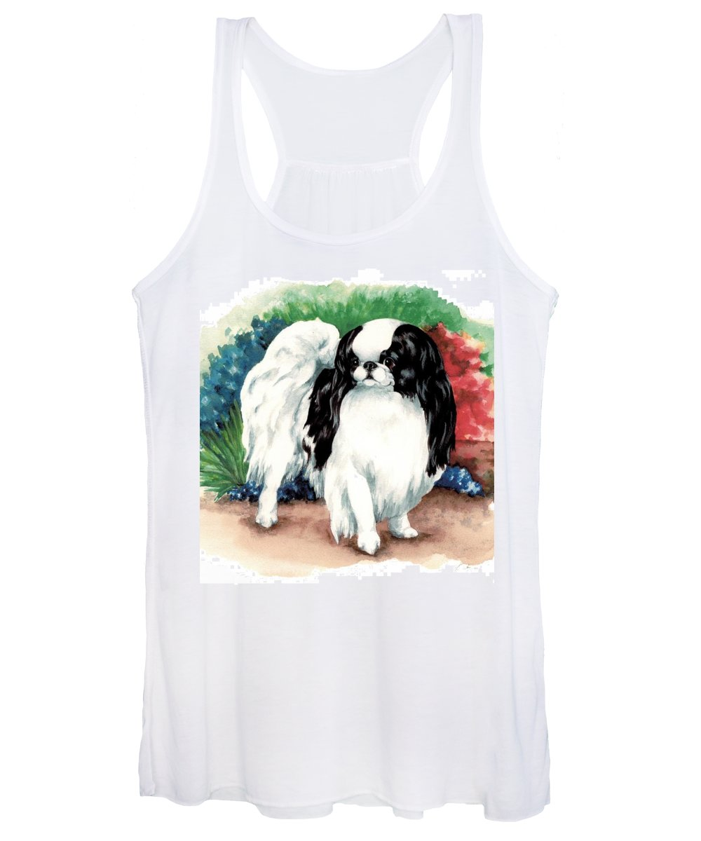 Japanese Chin Women's Tank Top featuring the painting Garden Chin by Kathleen Sepulveda