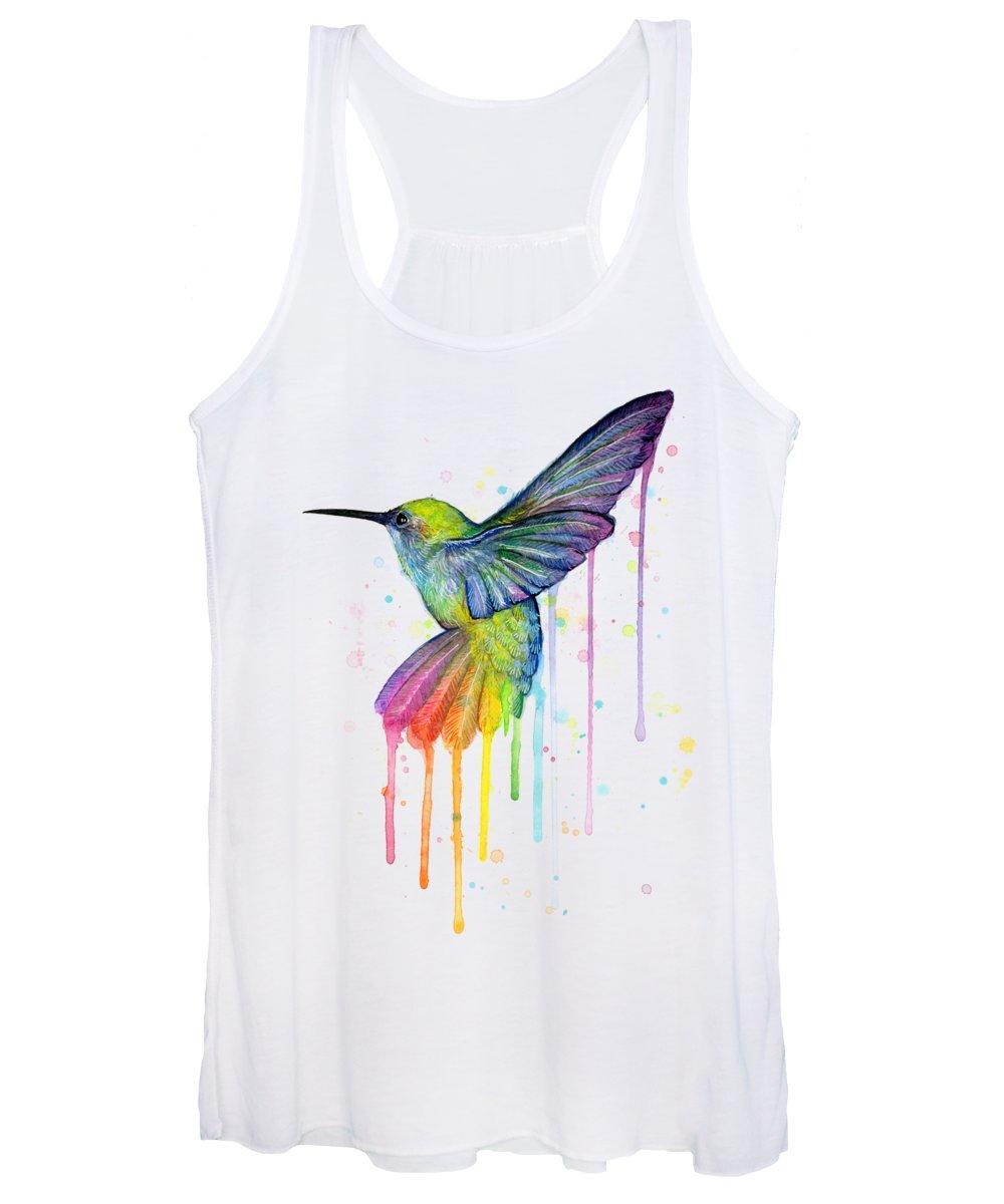 Hummingbird Women's Tank Top featuring the painting Hummingbird of Watercolor Rainbow by Olga Shvartsur