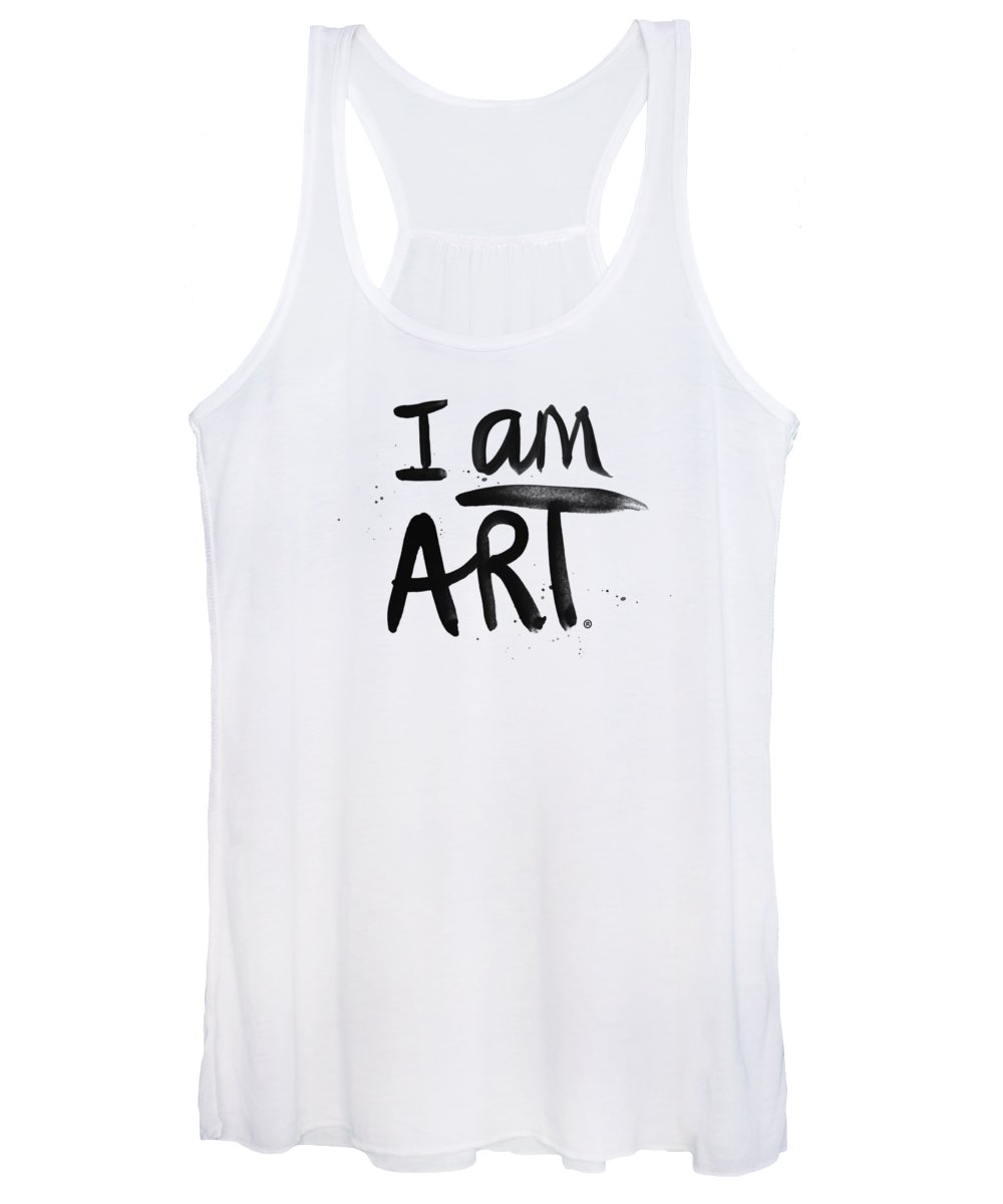 Art Women's Tank Top featuring the mixed media I AM ART black ink - Art by Linda Woods by Linda Woods