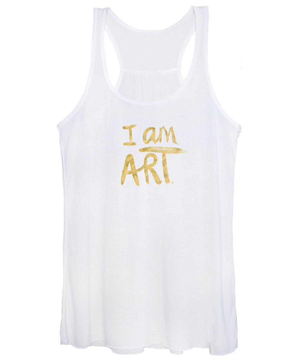I Am Art Women's Tank Top featuring the painting I AM ART GOLD - Art by Linda Woods by Linda Woods