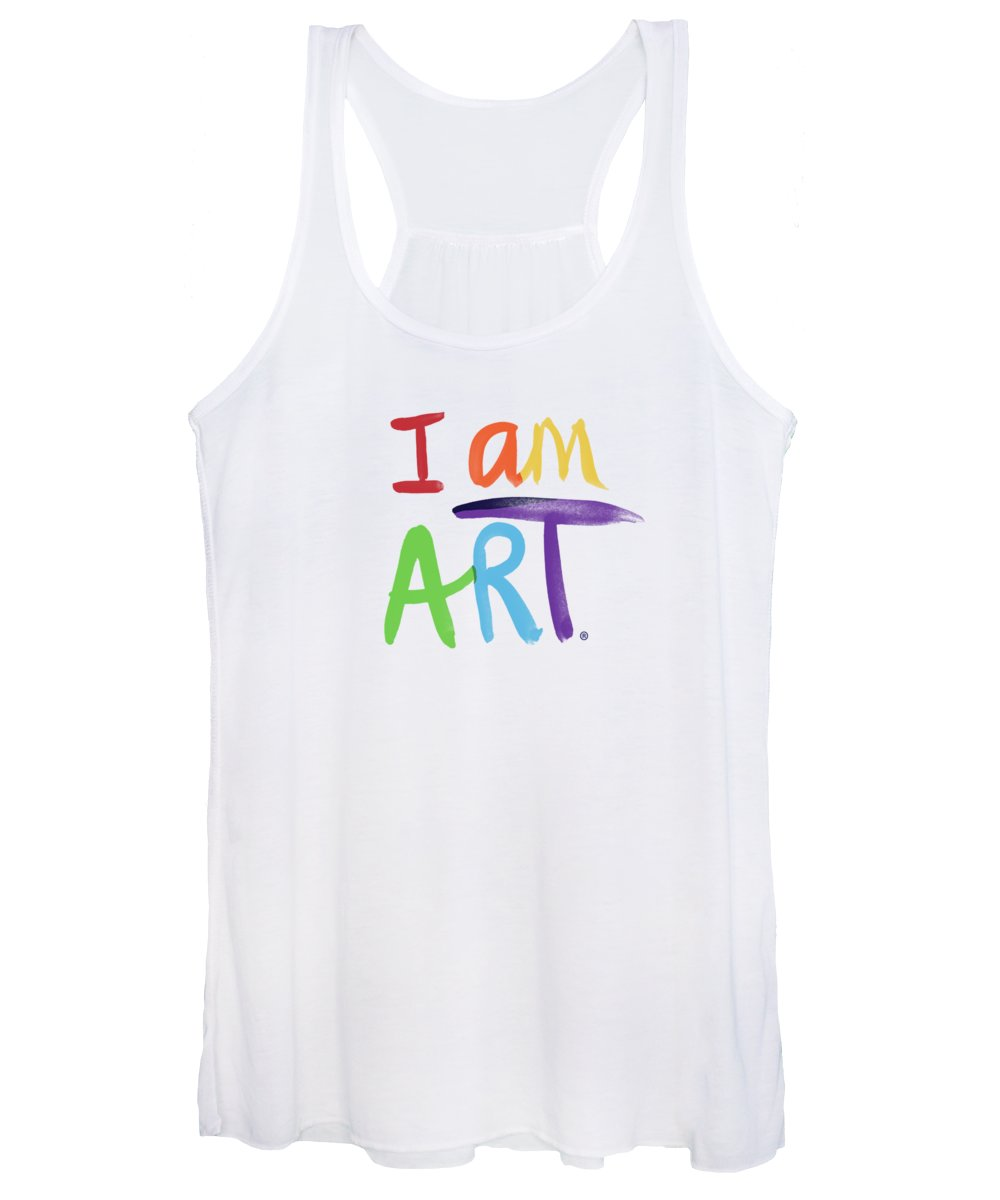 Rainbow Women's Tank Top featuring the painting I AM ART Rainbow Script- Art by Linda Woods by Linda Woods
