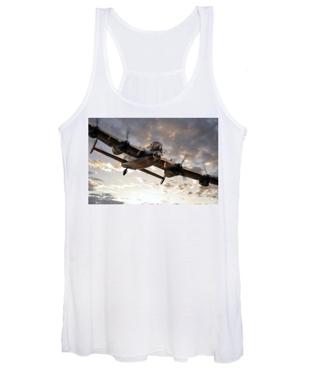Lancaster Bomber Women's Tank Top featuring the digital art Lancaster Bomber Returns by Airpower Art