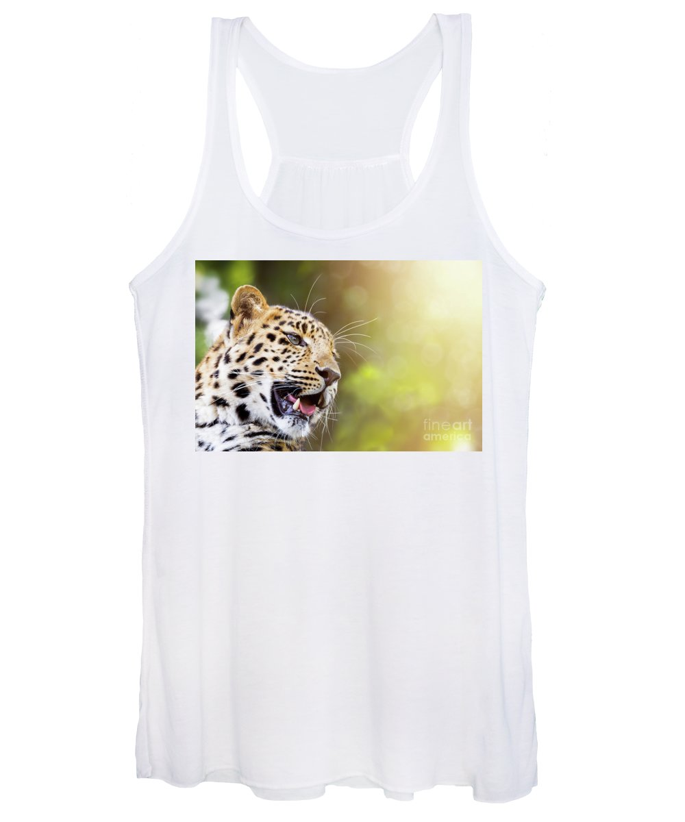 Leopard Women's Tank Top featuring the photograph Leopard In Sunlight by Jane Rix