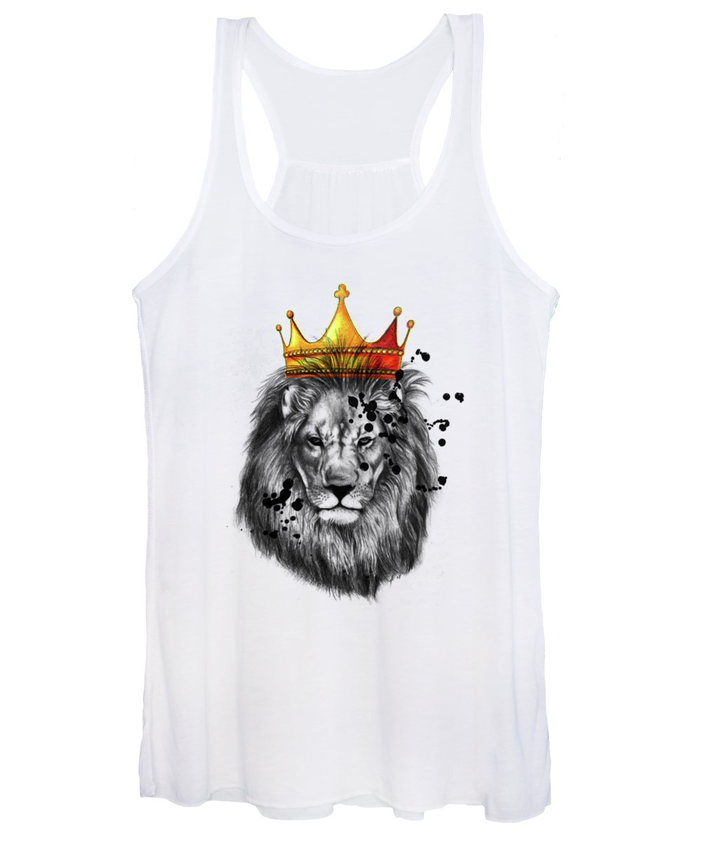 Wpap Women's Tank Top featuring the drawing Lion King by Mark Ashkenazi