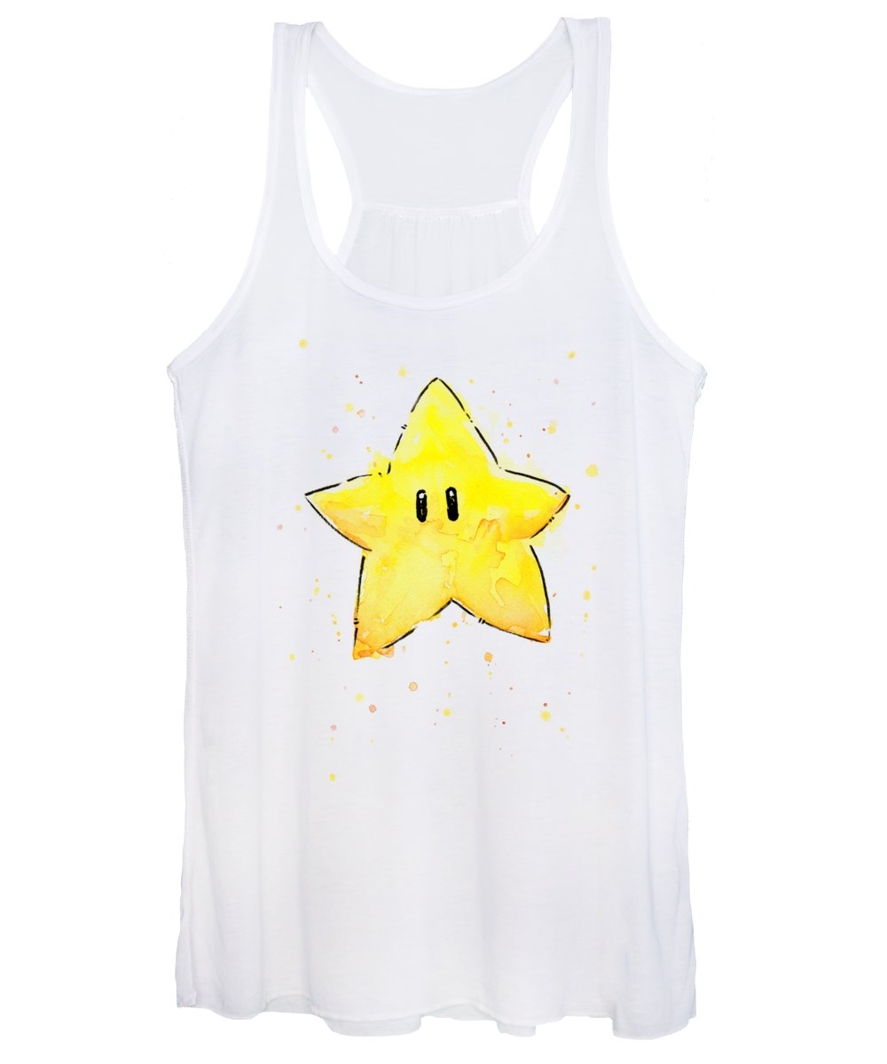 Star Women's Tank Top featuring the painting Mario Invincibility Star Watercolor by Olga Shvartsur