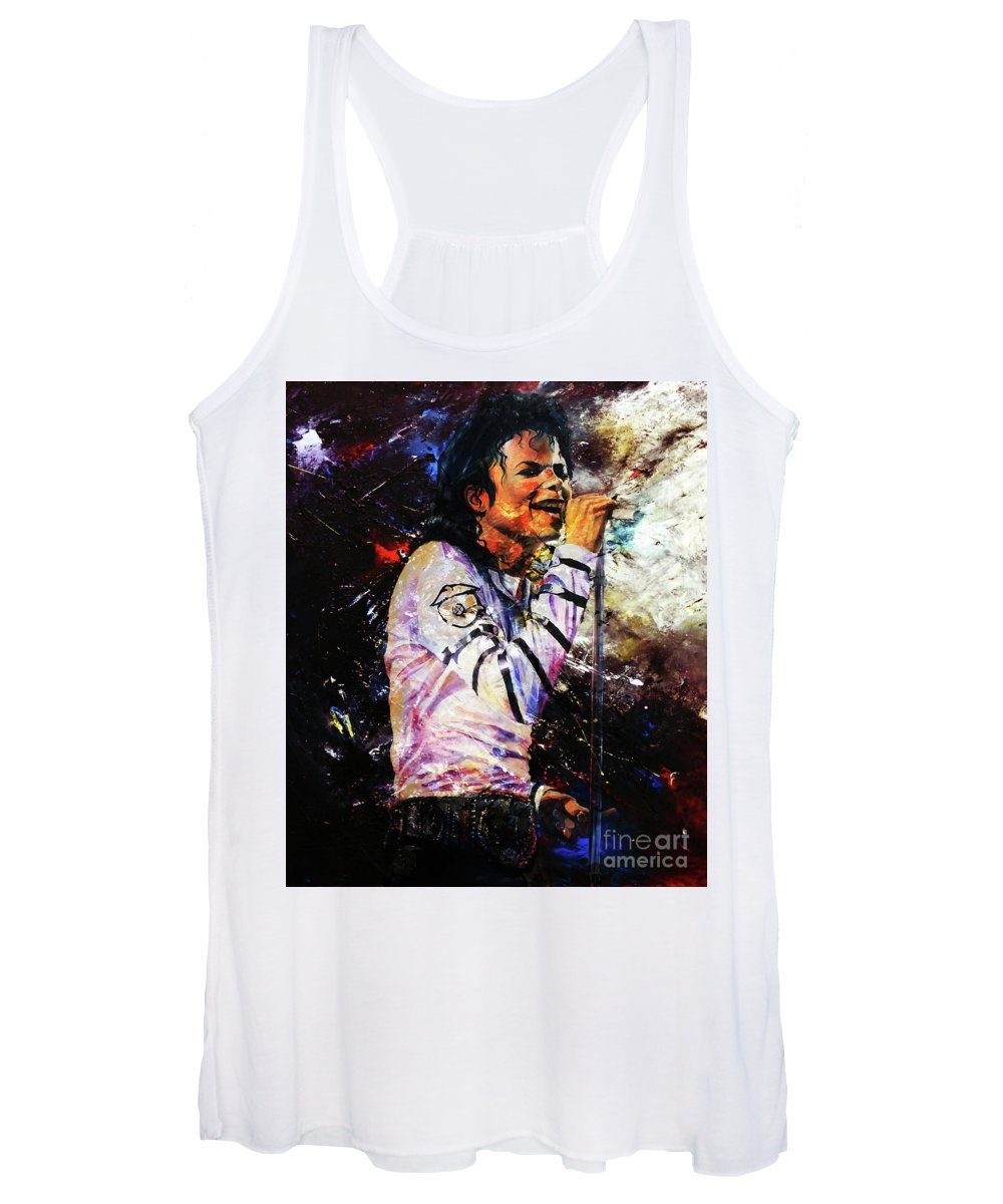 Michael Jackson Women's Tank Top featuring the painting Michael Jackson by Gull G