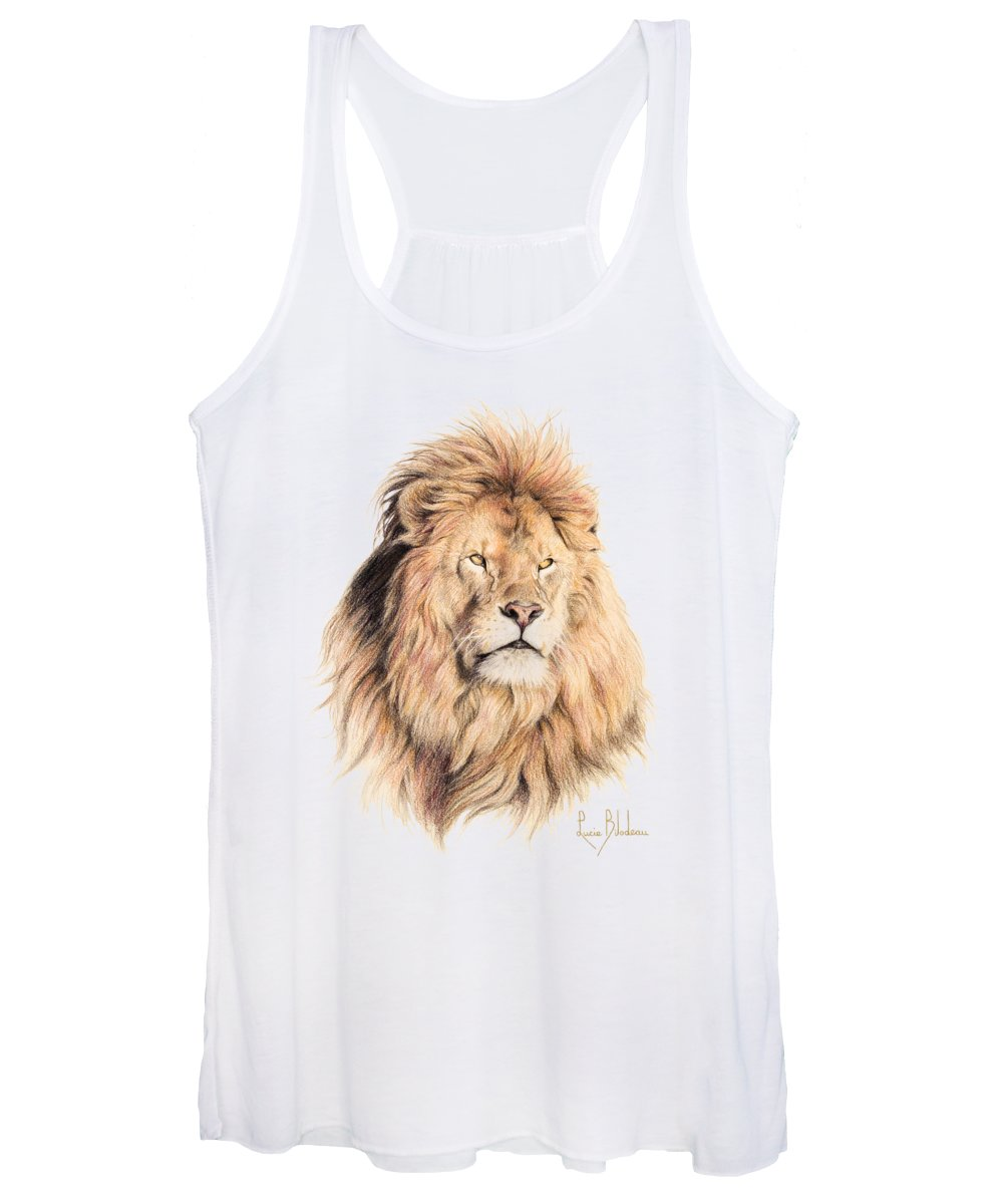 Lion Women's Tank Top featuring the drawing Mufasa by Lucie Bilodeau