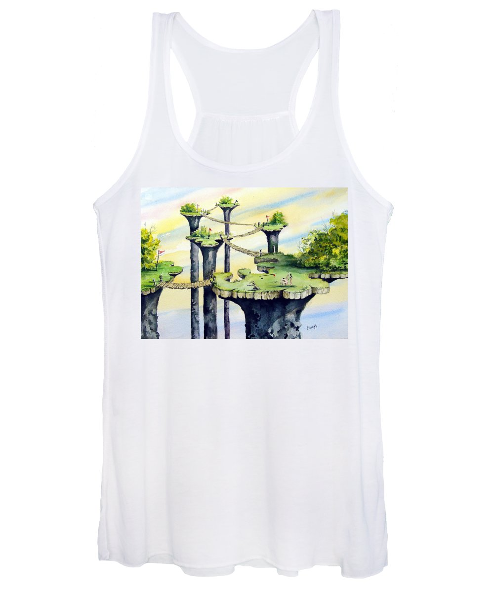 Golf Women's Tank Top featuring the painting Nod Country Club by Sam Sidders