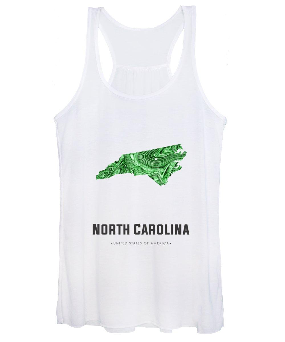 North Carolina Women's Tank Top featuring the mixed media North Carolina Map Art Abstract In Green by Studio Grafiikka