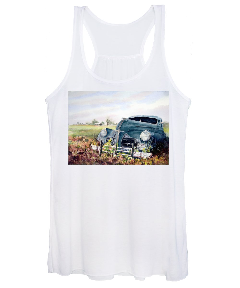 Classic Car Women's Tank Top featuring the painting Out To Pasture by Sam Sidders