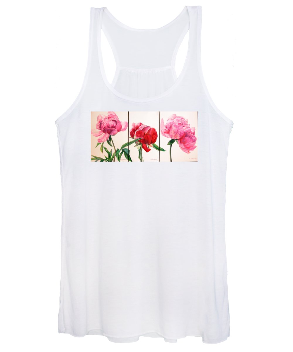 Floral Painting Women's Tank Top featuring the painting Pivoines by Muriel Dolemieux