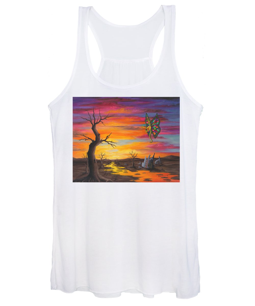 Fantasy Women's Tank Top featuring the painting Planet PX7 by Roz Eve