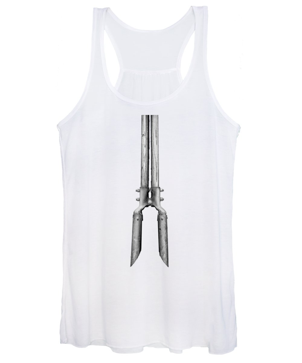 Art Women's Tank Top featuring the photograph Post Hole Digger II On Plywood 73 In Bw by YoPedro
