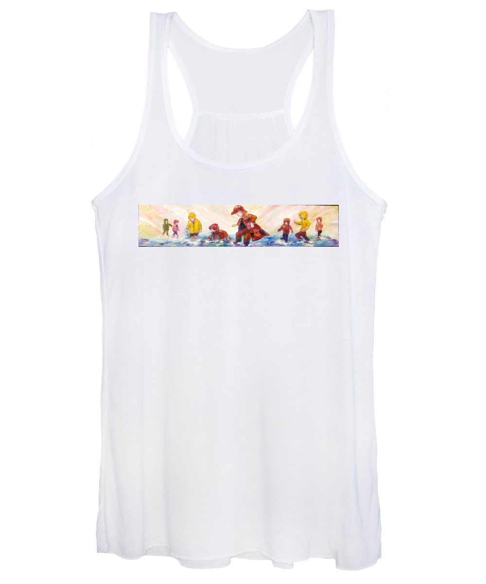 Mothers And Children Bonding Women's Tank Top featuring the mixed media Puddle Jumpers by Naomi Gerrard