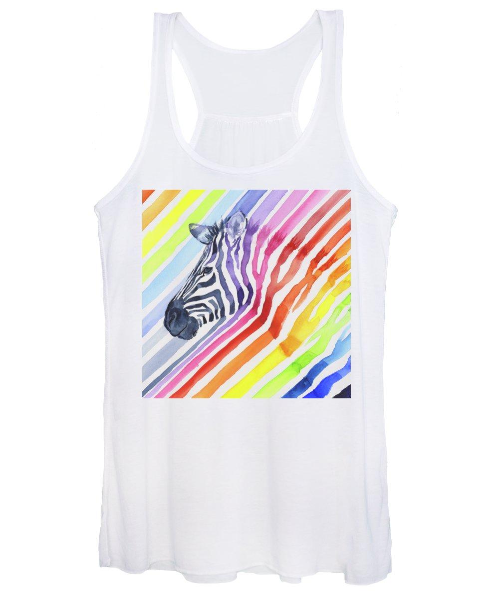 Rainbow Women's Tank Top featuring the painting Rainbow Zebra Pattern by Olga Shvartsur