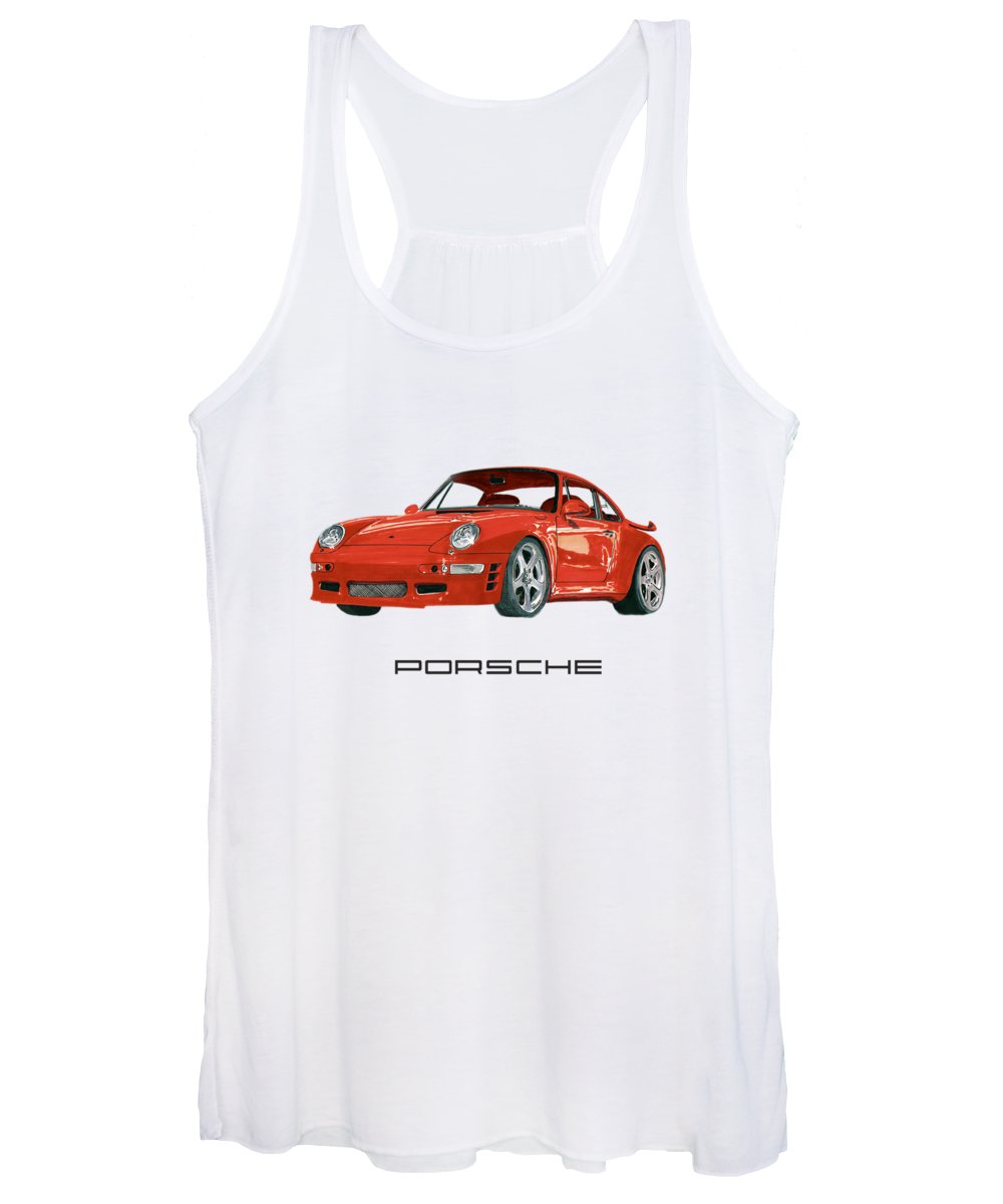 1997 Women's Tank Top featuring the painting 1997 Porsche 993 Twin Turbo R by Jack Pumphrey