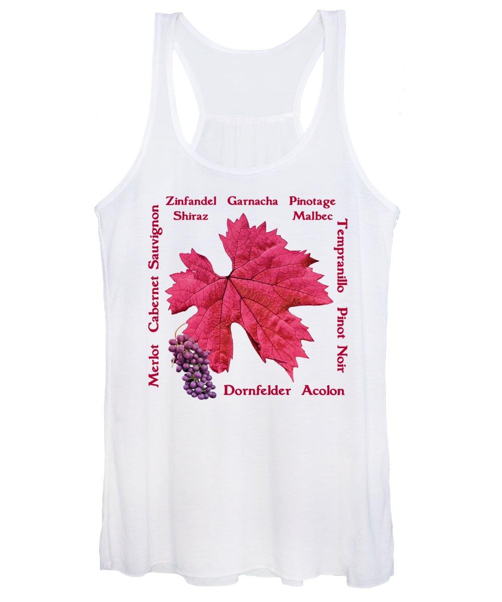 Red Wine Mixed Media Women's Tank Tops