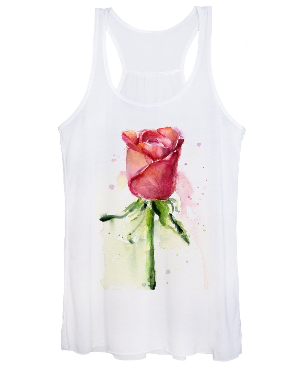 Rose Women's Tank Top featuring the painting Rose Watercolor by Olga Shvartsur