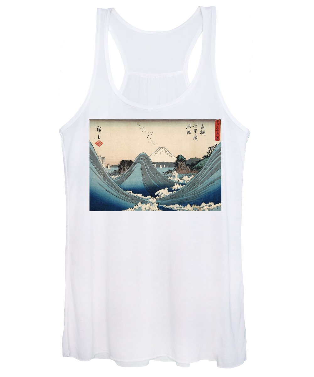 Sea Women's Tank Top featuring the painting Rough Seas At Shichiri Beach by Hiroshige