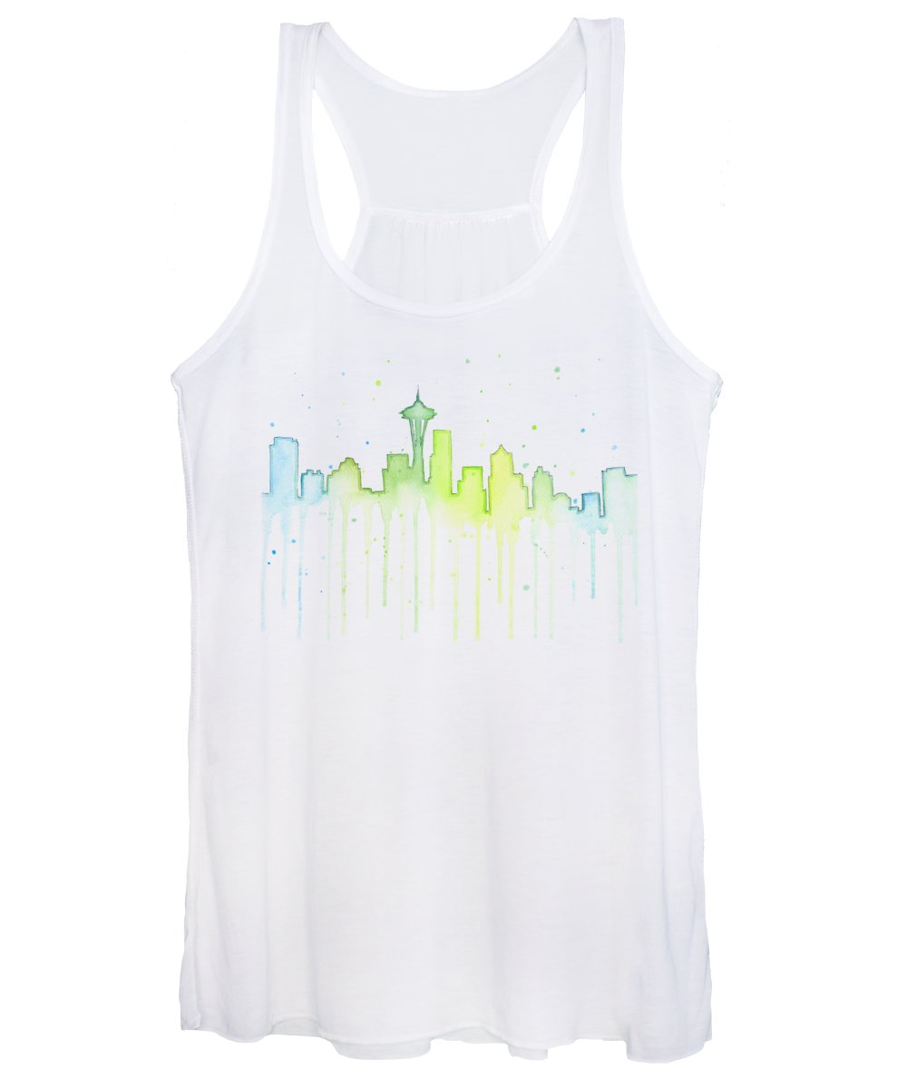 Seattle Women's Tank Top featuring the painting Seattle Skyline Watercolor by Olga Shvartsur