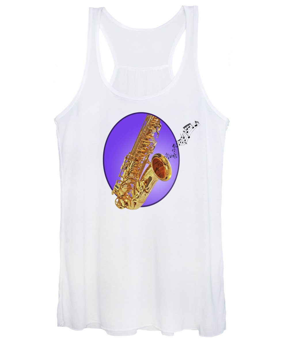 Music Women's Tank Top featuring the photograph Sounds Of The Sax In Purple by Gill Billington